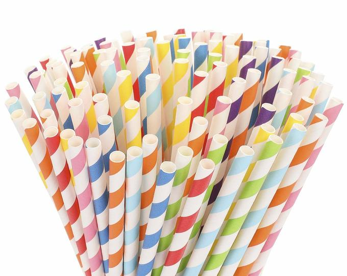 Biodegradable Rainbow Paper Straws (200 ct)