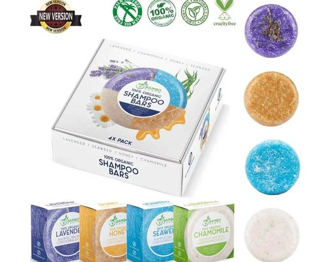 4 Pack 100% Organic Shampoo Bars